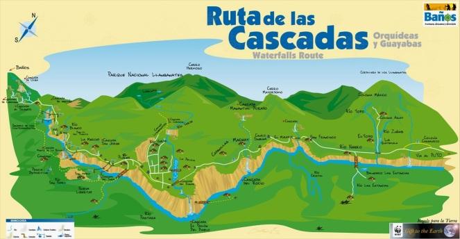 Mapa Ruta de las Cascadas Ciudad de Banos